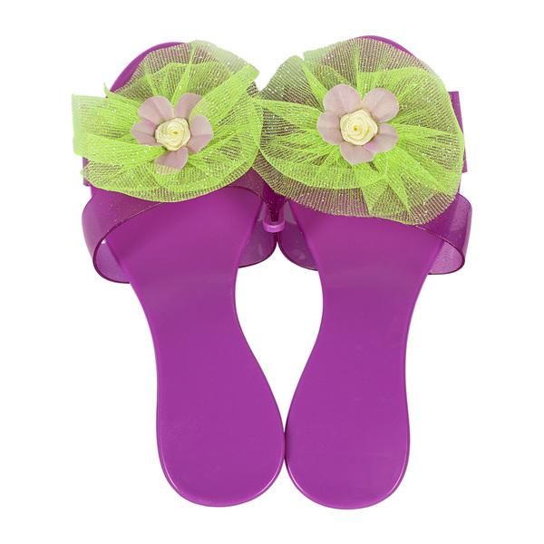 Фиолетовые туфельки с зеленым бантом для маленькой принцессы