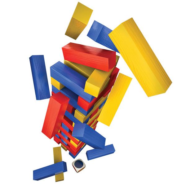 Настольная игра «Дженга с цветными брусочками» (в жестяной коробке)